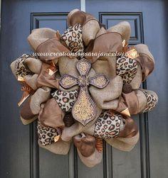 Fall Burlap Cross Wreath - Fall Wreath - Cross Leopard ...