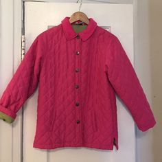 Children's Lilly Pulitzer Quilted Jacket Precious! Children's size 12. Good condition. Great detail. Snap front with green liner. Corduroy collar. Too cute! Lilly Pulitzer Jackets & Coats