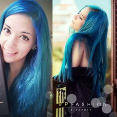 wonderful dye job, nice lake blue hair color~