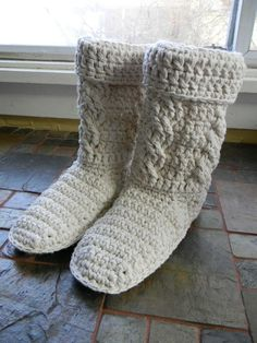 View all Mamachee Patterns here: www.mamachee.etsy.com  **This is a listing for a crochet pattern, not a finished pair of boots.**  Crochet a comfy pair of boots for yourself, as a gift or to sell! Pattern includes directions for working really pretty cables up the leg of boot. These instructions were provided by Ann Williams (Glamour 4 you). The photo of the boots with the cables is also provided by Ann. Anns Etsy Shop: www.glamour4you.etsy.com Anns Facebook page: https://www.faceb...