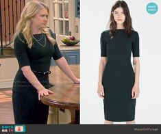 Mel's dark green short sleeved dress on Melissa and Joey.  Outfit Details: http://wornontv.net/50063/ #MelissaandJoey