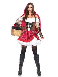 Leg Avenue Women's 2 Piece Rebel Riding Hood Costume, Multi, Small Flattering peasant dress with pretty pick up skirt detail^Gothic lace up bodice^Matching hooded cape^Faux leather gloves pair great but are not included Fancy Dress Up, Halloween Fancy Dress, Halloween Kostüm, Halloween Costumes, Buy Costumes, Women Halloween, Spirit Halloween, Sexy Outfits, Fancy Dress Outfits