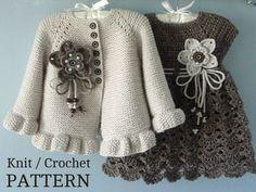 Knitting PATTERN Baby Jacket Crochet PATTERN Baby Dress Baby Cardigan Baby Girl Pattern Baby Outfit Newborn Baby Girl Clothes Pattern PDF