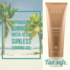 Want a beautiful, golden glow all year round? No matter the season, you can give your skin an instant, sun-kissed finish with Sunright® Insta Glow—no sun required. Formulated for face and body, this tinted gel builds over time, giving you a deeper, natural-looking tan as it fully develops. Sunright® Insta Glow is extremely low-odor, and effortlessly glides onto your skin for smooth and even application.