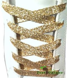 Metallic gold shoelaces