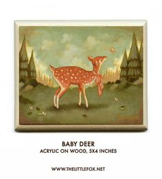 Original Painting, Acrylic, Children's Art, Nursery Art, Deer, Fawn, Butterfly, Forest, Woods, Baby, Animal, Cute, Autumn, Kids - Baby Deer