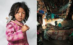 Onde as crianças dormem - Indira de sete anos. Vive com seus pais, irmão e irmã, perto de Kathmandu, no Nepal. Sua casa tem apenas um quarto, com uma cama e um colchão. Trabalha na pedreira de granito local desde os três anos, seis horas por dia além de ajudar a mãe em casa. Ela gostaria de ser bailarina quando crescer.