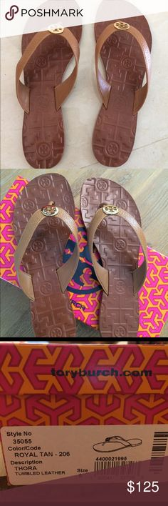 Nwt Tory Burch Thora Sandal Nwt Tory Burch Thora Royal Tan Tumbled Leather Size 6 Tory Burch Shoes Sandals