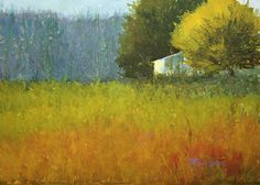 Watercolor painting farm in august sun. This website is a showcase of recent paintings that are for sale online.