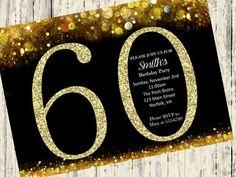 60th Birthday Invitation. Gold Glitter Birthday by SilverCityInk