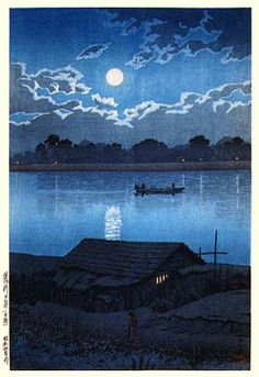 hanga gallery . . . torii gallery: Moon over the Arakawa River by Kawase Hasui