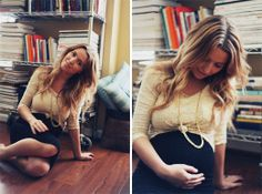 great #maternity idea for shirts you still want to wear..roll up and tie in a knot and wear black underneath #pregnancy