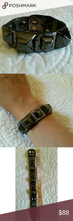 """""""JUST IN"""" Ramone Cuff Anthracite Perfect condition  No stain or rip  Like new  Leather  See pic #3  11/12/17 Hayden Harnett Jewelry Bracelets"""