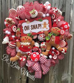 OH SNAP Christmas Wreath Gingerbread Wreath Burlap by BaBamWreaths
