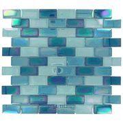 "Modern Mosaics - 1"" x 2"" Crystallized Iridescent Glass Tile in Iridescent Blue Blend - ( MSI-87271 )"