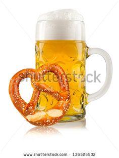 beer mug with german pretzel