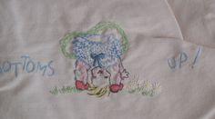 2 pink Nathan Kranskopf 1950s infant, plastic panties. Made in Switzerland, embroidered scenes by TessiesOldOddities on Etsy