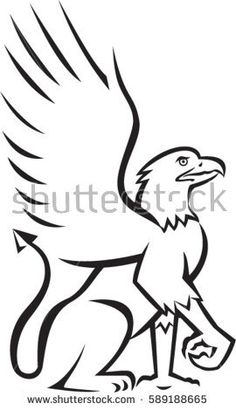 Illustration of a griffin, griffon, or gryphon sitting down viewed from the side set on isolated white background done in retro style. #griffin #retro #illustration