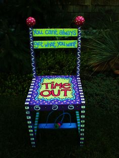 Time Out - Alice Hinther Designs Art Cards Painted Wooden Chairs, Funky Painted Furniture, Recycled Furniture, Kids Furniture, Diy Craft Projects, Diy And Crafts, Childrens Chair, Time Out Chair, Goose Feathers