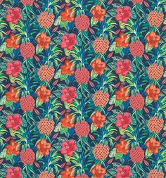 Pina Colada Fabric from the Sea Breeze Outdoor Collection by Osborne & Little, with a tropical print in luscious red, green and navy blue. Pina Colada, Garden Nook, Osborne And Little, Modern Tropical, Made To Measure Curtains, Cool Fabric, Fabric Wallpaper, Fabric Samples, Outdoor Fabric