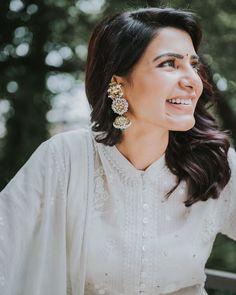 Samantha Ruth Prabhu wears a white anarkali dress by Sahil Kochar and statement jhumkas by Lara Morakhia. Samantha Images, Samantha Ruth, Indian Earrings, Big Earrings, South Indian Actress, Beautiful Indian Actress, White Anarkali, Anarkali Dress, Indian Celebrities