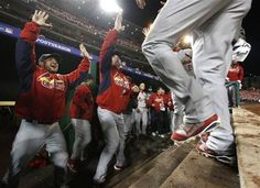 Game 5 of the NLDS-Beltran and Chambers get congrats after scoring to tie the game 10-12-12