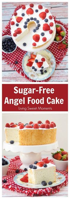 This delicious Sugar Free Angel Food Cake recipe is super easy to make, low carb, and perfect for diabetics. An incredible sugar free dessert. More healthier desserts at livingsweetmoment. via Desserts 13 Desserts, Low Sugar Desserts, Healthier Desserts, Dessert Recipes, Sugar Free Angel Food Cake Recipe, Sugar Free Recipes, Top Recipes, Baking Recipes, Diet Recipes