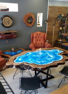 40 Amazing Resin Wood Table For Your Furniture. For several reasons, resin furniture has become a popular alternative to wooden furniture created for outdoor use. It looks similar to painted wood, but. Resin Furniture, Art Furniture, Furniture Design, Furniture Plans, Contemporary Furniture, Antique Furniture, Modern Contemporary, Blue Dining Tables, Wood Tables