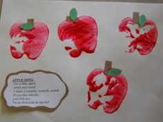 Apple Stamping with apple song:  I'm a little apple, small & round.I make a crunchy munchy sound, If you bite into me you will see, I'm as delicious as can be! Preschool Projects, Daycare Crafts, Toddler Crafts, Preschool Activities, Crafts For Kids, Infant Crafts, Preschool Apple Theme, Apple Activities, Fall Preschool