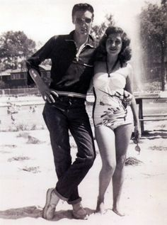"""theniftyfifties: """" Elvis Presley with classmate Rosemary Barracco at their Class…"""