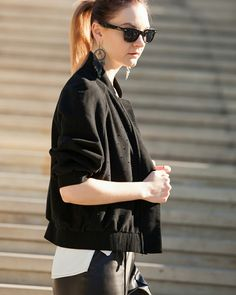 #Fashion #style #nyfw #ootd #cute #bomber #streetstyle #black #casual #outfit #lookoftheday