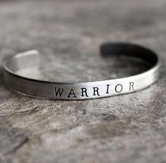 Warrior Hand Stamped Cuff Bracelet in Silver Metal Stamped Bracelet, Hand Stamped Jewelry, Metal Bracelets, Cuff Bracelets, Handmade Jewelry, Metal Stamping Jewelry, Hand Stamped Metal, Bracelet Quotes, Jewelry Art