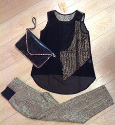 Black & Gold: look de fiesta ¡Brilla con luz propia!   Top Isis y pantalón Isabel   #bogavalentia #party #gold #black #fashion #moda #fiesta #navidades #vogue #boga