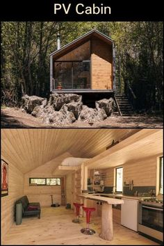 PV Cabin is a temporary place of refuge for a rock-climbing young couple. It sits in a small clearing, after a journey through wooded, winding roads. Tiny House Cabin, Tiny House Living, Cabin Homes, Cabin Design, Cottage Design, Tiny House Design, Weekend House, Micro House, Forest House