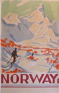 Norway - vintage ski poster  Designer:Gert Jynge  1930