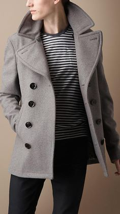 Burberry Iconic Wool-Blend Pea Coat ($1,160) ❤ liked on Polyvore ...