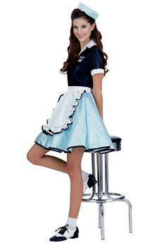 Women's cute 1950's diner girl fancy dress costume  by Rubies. Serve up some soda's in this cute women's 50's waitress costume. Perfect costume for your next 50's Rock N' Roll costume party. See below for full description and size details.