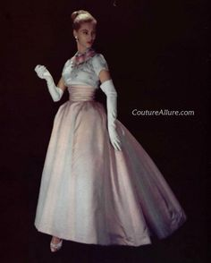Pierre Balmain gown from 1956, via Couture Allure.
