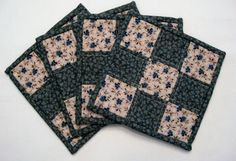Quilted Mug Rugs set of 4 medium blue and by WarmandCozyQuilts