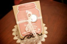 Mason jar invite for a vintage garden wedding  Photographed by John W Photography