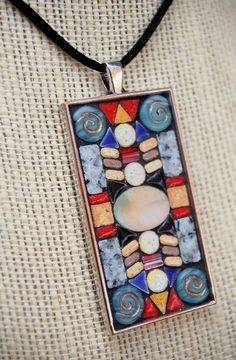 Handmade mosaic tile pendant / necklace by NikkiSullivanMosaics, $54.50