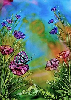Alcohol ink painting. Butterfly Garden II