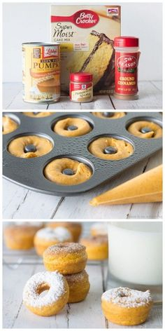 mini pumpkin donuts are deliciously coated with cinnamon sugar and make the perfect fall treat!These mini pumpkin donuts are deliciously coated with cinnamon sugar and make the perfect fall treat! Fall Desserts, Just Desserts, Delicious Desserts, Dessert Recipes, Yummy Food, Christmas Desserts, Christmas Recipes, Pumpkin Recipes, Fall Recipes