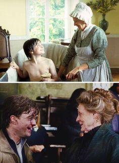 """""""My relationship with Maggie Smith; well, she got me the job at Potter, practically. So for anyone who doesn't know that story, I basically owe everything to Maggie Smith, because I worked with her on David Copperfield and then she came on to Potter as McGonagall and said to the director: """"You need to audition this boy."""" So I kind of owe her everything, so to Maggie I just say my fairy grandmother."""" - Daniel Radcliffe"""