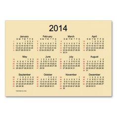 Orange Cream 52 Week Calendar 2014 Business Card Design from Calendars by Janz