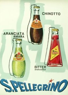 Vintage San Pellegrino poster and product line up.:
