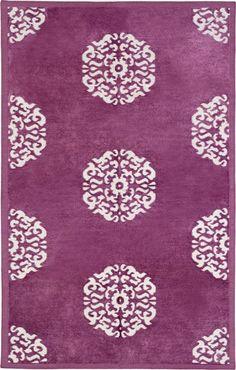 Purple Mandala handwoven chenille rug, metallic motif, from Madeline Weinrib.