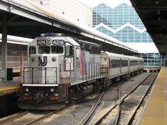 NJ Transit EMD GP40PH-2B #4216 waits at the Atlantic City Rail Terminal to pull Train 4622, a 3-car Comet IV train, to 30th Street Station.
