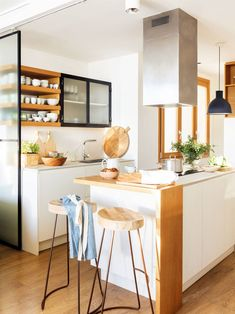 The top level of this duplex apartment in Spain was made the main floor, with a living room, a kitchen and a terrace, while on the ground floor there is a ✌Pufikhomes - source of home inspiration Small Kitchen Tables, Big Kitchen, Kitchen Stools, Diy Kitchen Furniture, Home Decor Kitchen, Beach House Kitchens, Home Kitchens, Small Kitchens, Sweet Home