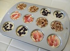 Pancake Bites. Use your favorite pancake mix, pour into muffin tins, add fruit, nuts, sausage, bacon, chocolate chips, etc. Bake at 350 for 12-14 minutes.